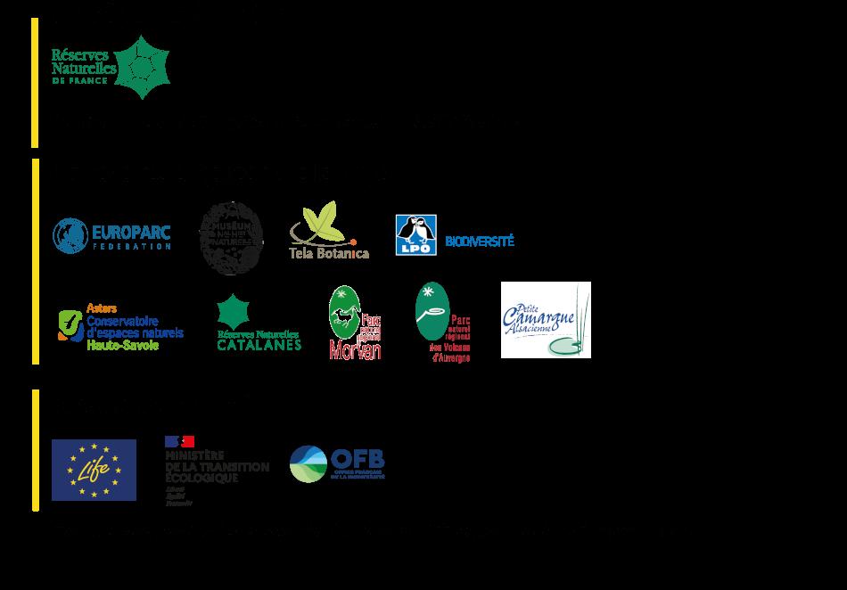 logos de tous les partenaires : RNF, Europe, LIFE, OFB, Ministere transition écologique etc.