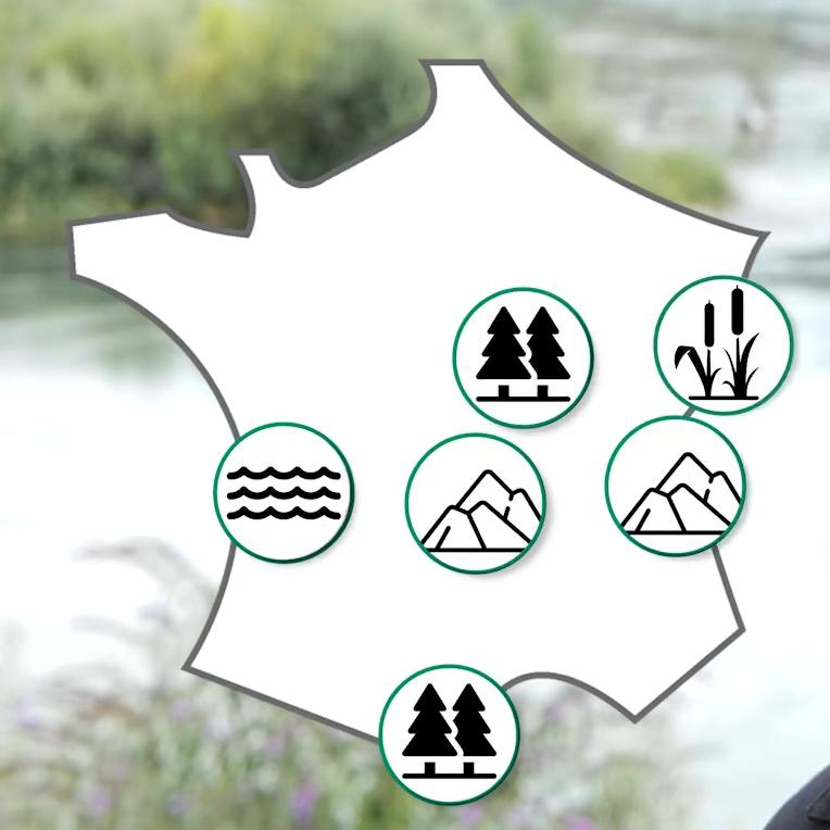 cartographie des sites tests présentant leur types de milieux sur le territoire de la france métropolitaine